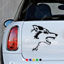 Ağzı Açık Yırtıcı Vahşi Kurt Duvar Araç Sticker