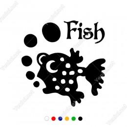 Ağzından Baloncuk Çıkan Balık Etiket Sticker Yapıştırma