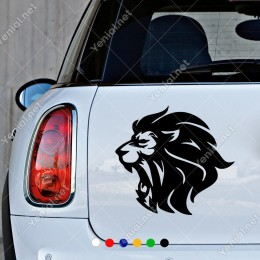 Ağzını Açmış Aslan Kafası Hayvan Araba Sticker Yapıştırma