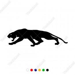 Ağzını Açmış Kızgın Sola Bakan Jaguar Leopar Sticker