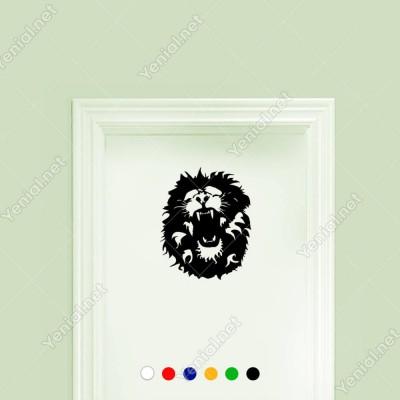 Ağzını Açmış Kükreyen Yaşlı Aslan Etiket Sticker Yapıştırma