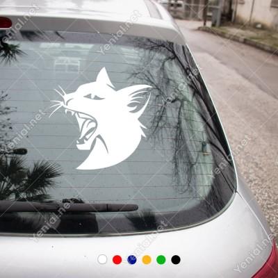 Ağzını Açmış Siyah Kedi Kafası Hayvan Araba Sticker Yapıştırma