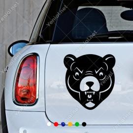 Ağzını Açmış Vahşi Ayı Kızgın Araba Sticker Yapıştırma