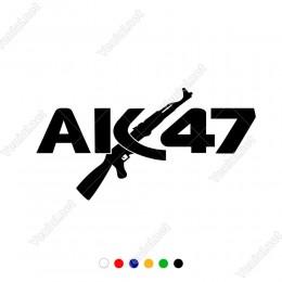 Ak47 Yazısı Keleş Silah Tabanca Sticker Çıkartma