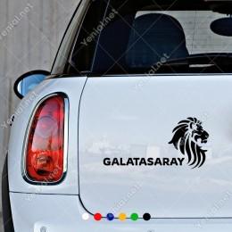Aslan ve Galatasaray Yazısı Araç ve Duvar İçin Sticker