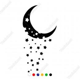 Ayın İçinden Dökülen Yıldızlar Sticker Yapıştırma