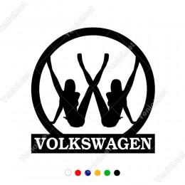 Bacaklarını Açmış Kadınlar ve Wosvagen Logosu Sticker Çıkartma