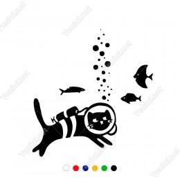 Balık Avlayan Dalgıç Kedi Etiket Sticker Yapıştırma