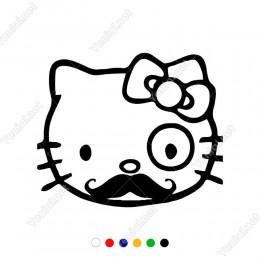 Bıyıklı Hello Kitty Sticker Yapıştırma
