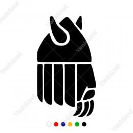 Boynuzlu Viking Kaskı Tanesi Sticker Yapıştırma