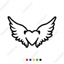 Dış Kontörlü Kalp ve Kanat Etiket Sticker Yapıştırma