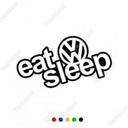 Eat Sleep Yazısı ve Wosvagen Logosu Sticker Yapıştırma