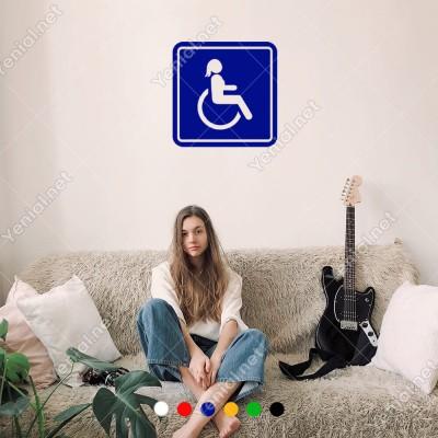 Engeli Arabası ve Engelli Erkek Araba İşareti Sticker