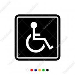 Engeli Arabası ve Engelli Kadın Araba İşareti Sticker