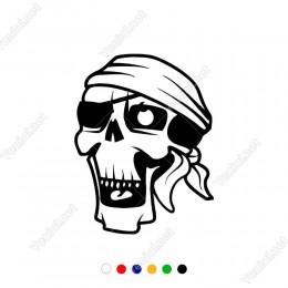Gözü Bağlı Korsan Kuru Kafa Modifiye Araba Oto Sticker