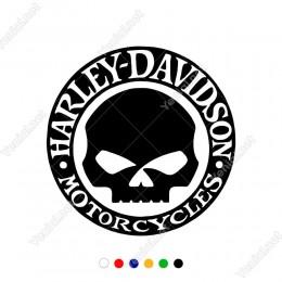 Harley-Davidson ve Kuru Kafalı Motorcu Logosu Sticker