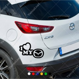 I Love My Mazda Logo Araç Sticker
