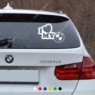 I Love My New Logo BMW Araç Sticker Yapıştırma