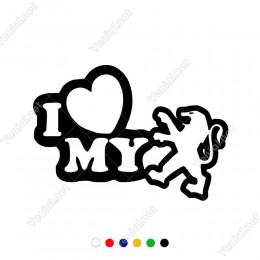 I Love My Peugeot Logo Yazısı Araç Sticker