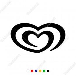 İç İçe Geçen Kalpler Sticker Yapıştırması