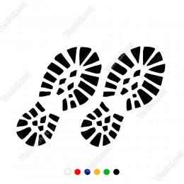 İki Çift Ayakkabı İzi Etiket Sticker Yapıştırma