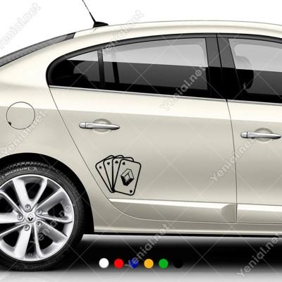 İskambil Kağıtları Renault Logosu Sticker Yapıştırma