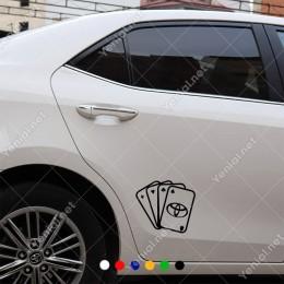 İskambil Kağıtları Toyota Logosu Sticker Yapıştırma