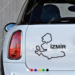 İzmir Haritası Araç ve Duvar İçin Sticker Yapıştırma