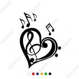 Kalp Simgesi ve Müzik Notaları Etiket Sticker Yapıştırma