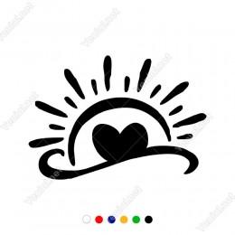 Kalp ve Güneş Sticker Yapıştırma Etiket