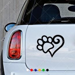Kalp ve Kedi Köpek Pati Ayak İzi Süsleme Sticker