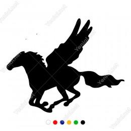 Kanatları Açık Uçan At Pegasus Sticker Yapıştırma