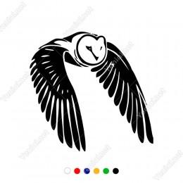 Kanatları Kapalı Uçan Baykuş Sticker Yapıştırma