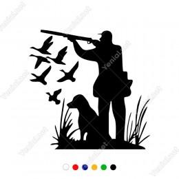 Köpeği İle Ördek Avına Çıkmış Avcı Sticker Yapıştırma