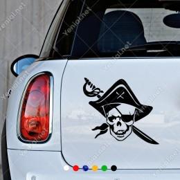 Korsan Swords Kafatası Komik Araba Sticker Yapıştırma