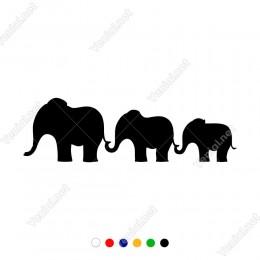 Küçükten Büyüğe Sılanmış Aile Filler Yapıştırma Sticker