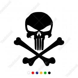 Kuru Kafa Punisher ve Kemik Sticker Yapıştırma