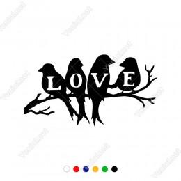Love Yazısı ve Ağacın Üzerinde Kuşlar Etiket Sticker Yapıştırma