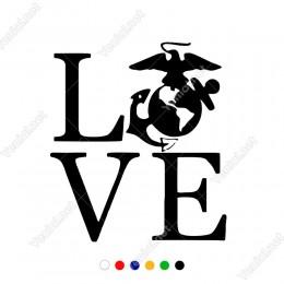 Love Yazısı ve Çapa Olan Sticker Yapıştırma