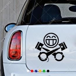 Makine Ve Mutlu Motor Simgesi Sticker Yapıştırma