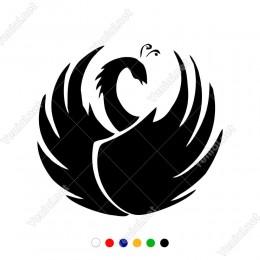 Sağ Sol Kanat Sakin Duran Kuğu Etiket Sticker Yapıştırma