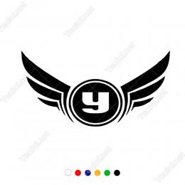 Sağ Sol Kanat Yuki Logo Sticker Yapıştırma Etiket