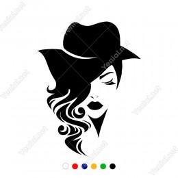Şapkalı Saçları Dağınık Güzel Kadın Sticker Yapıştırma