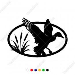 Sazlıklardan Uçuşan Avcı Ördek Etiket Sticker Yapıştırma