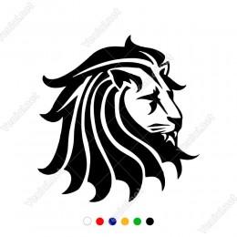 Sola Doğru Dönük Yeleli Aslan Araç Sticker