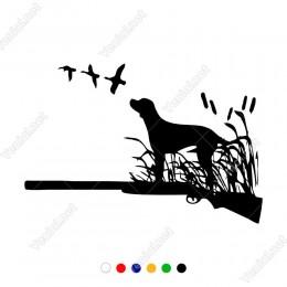 Tüfek ,Avcı Köpek Sazlık Sticker Yapıştırma