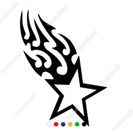 Yukarıya Doğru Keskin Ateş Efektli Army Yıldız Sticker
