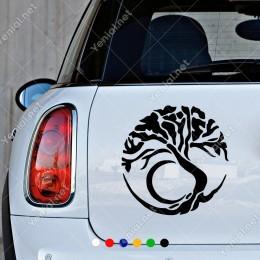 Yuvarlak İçinde Köklü Ağaç Duvar Araç Sticker