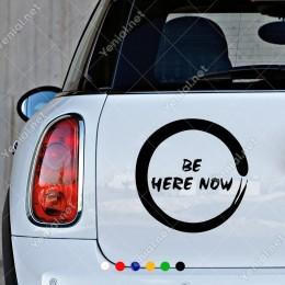 Zen İşareti Be Here Now Yazısı Yoga Figürü Sticker Yapıştırma