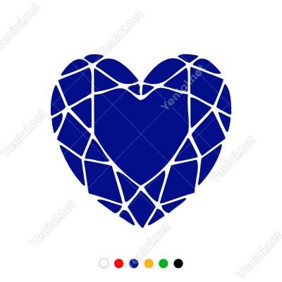3 Boyut Görünümlü Desenli Kalp Sticker